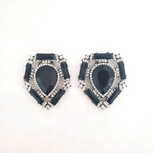 Absolutely Audrey Black Rhinestone Shoe Clips